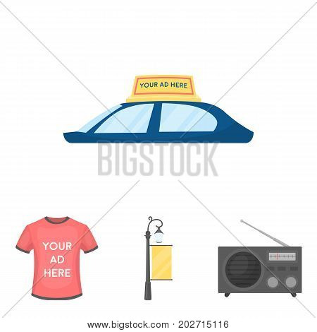 A lamppost with a sign, a T-shirt with an inscription, a radio, a car roof.Advertising, set collection icons in cartoon style vector symbol stock illustration .