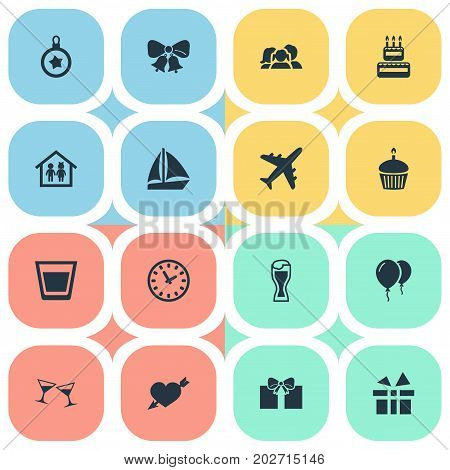 Elements Glass, Boat, Christmas Ball And Other Synonyms Airplane, Yacht And Jingle.  Vector Illustration Set Of Simple Vacation Icons.