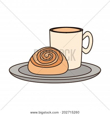 coffee drink with cinnamon roll icon over white background colorful design vector illustration