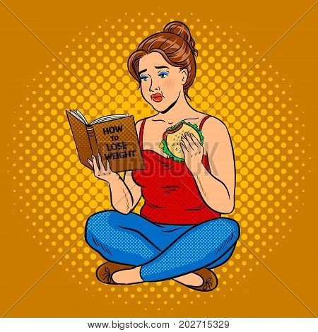 Fat girl eat burger and reads book about how to lose weight pop art retro vector illustration. Comic book style imitation.