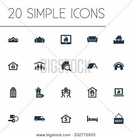 Elements Lease Information, Glass Tower, Search And Other Synonyms Stock, Shipping And Capital.  Vector Illustration Set Of Simple Real Icons.