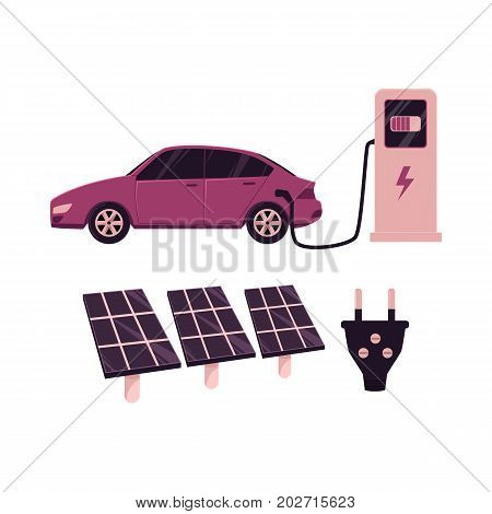 vector flat cartoon electric motor passenger car charging at the charger station, solar plant panels, power plug set. Isolated illustration on a white background. Green energy concept