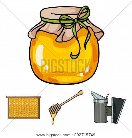 A frame with honeycombs, a ladle of honey, a fumigator from bees, a jar of honey.Apiary set collection icons in cartoon style vector symbol stock illustration .