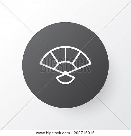 Premium Quality Isolated Japan Souvenir Element In Trendy Style.  Hand Fan Icon Symbol.