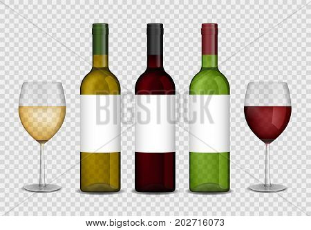 Transparent wine bottles and wineglasses mockup. Red and white wine in bottle and glasses isolated. Vector illustration EPS 10.