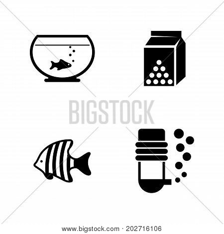 Aquarium Fish. Simple Related Vector Icons Set for Video, Mobile Apps, Web Sites, Print Projects and Your Design. Black Flat Illustration on White Background.