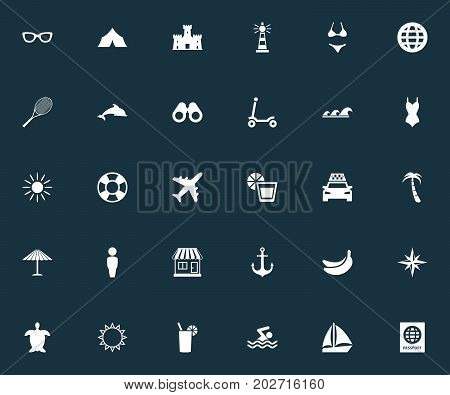 Elements Cycle, Sea, Tortoise And Other Synonyms Exotic, Sport And Glasses.  Vector Illustration Set Of Simple Seaside Icons.