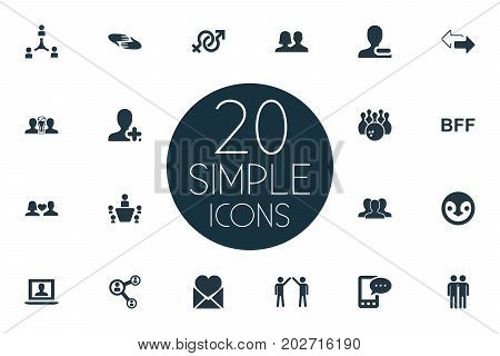 Elements Mail With Heart, Bff, Conference And Other Synonyms Communication, Gender And Plus.  Vector Illustration Set Of Simple Fellows Icons.