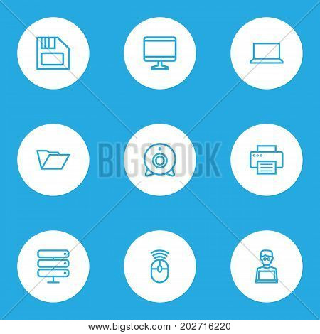 Hardware Outline Icons Set. Collection Of Display, Peripheral, Laptop And Other Elements