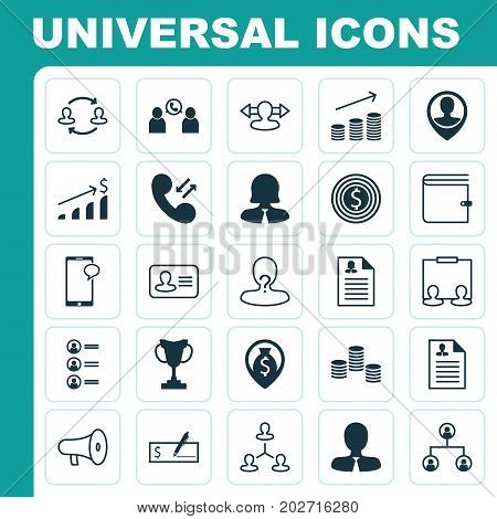 Hr Icons Set. Collection Of Curriculum Vitae, Wallet, Manager And Other Elements