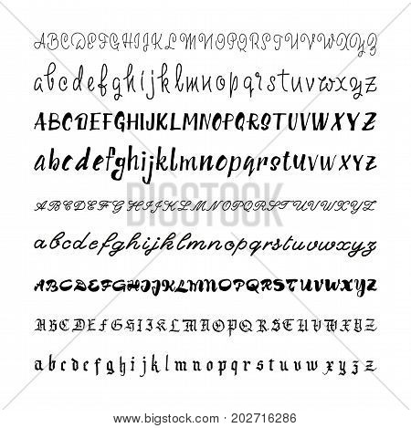 Alphabet, handwriting, font, hand made assembled into one set