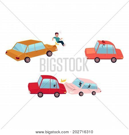 vector flat cartoon car crash, pedestrian accident set. Two vehicle collided both have dents, broken glasses, scratches, roof of red auto dented by brick. Isolated illustration on a white background.