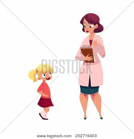 Woman doctor, pediatrician and little girl, medical exam, health check concept, cartoon vector illustration isolated on white background. Woman doctor, pediatrician and little girl, medical exam