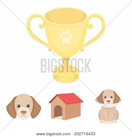 Dog house, protective collar, dog muzzle, cup. Dog set collection icons in cartoon style vector symbol stock illustration .