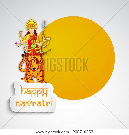 illustration of Hindu Goddess Durga and tiger with Happy Navratri text on the occasion of hindu festival Navratri