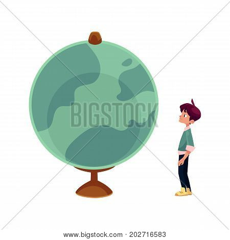 vector cartoon teenage man, curious schoolboy looking at big globe studying geography. Isolated flat illustration on a white background. Back to school concept