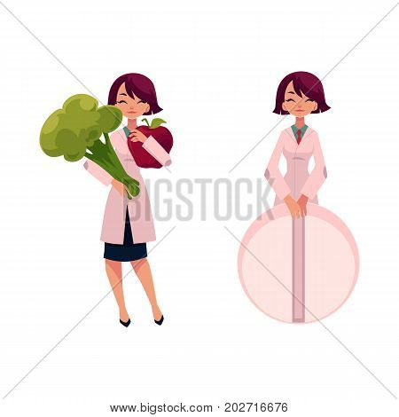 Young woman doctor holding huge apple and broccoli and giant pill, cartoon vector illustration isolated on white background. Cartoon woman doctor with giant pill, apple and broccoli