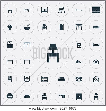 Elements Bearings, Bedroom, Lounge And Other Synonyms Footway, Side And Mattress.  Vector Illustration Set Of Simple Furnishings Icons.