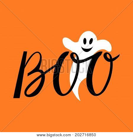 Boo modern inscription with a ghost. Background for Halloween
