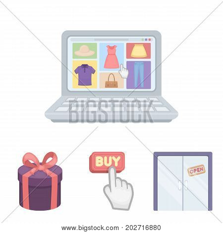 Hand, click, elevator, gift, box, door, online store and other equipment. E commerce set collection icons in cartoon style vector symbol stock illustration .
