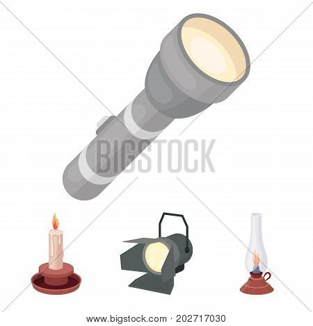 Searchlight, kerosene lamp, candle, flashlight.Light source set collection icons in cartoon style vector symbol stock illustration .