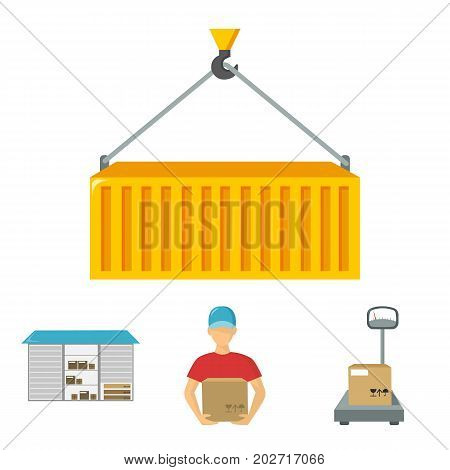 Courier, scales, container, warehouse.Logistic, set collection icons in cartoon style vector symbol stock illustration .