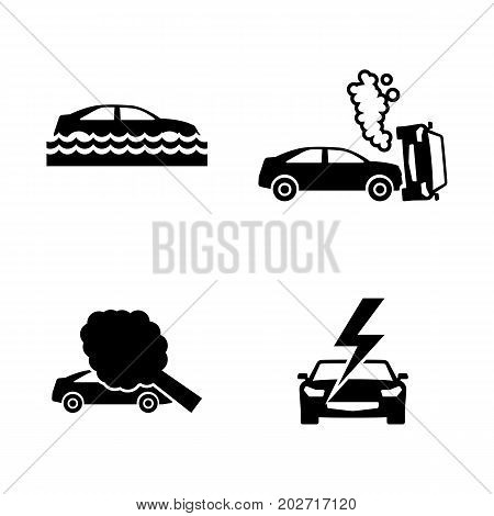 Car Crashes. Simple Related Vector Icons Set for Video, Mobile Apps, Web Sites, Print Projects and Your Design. Black Flat Illustration on White Background.