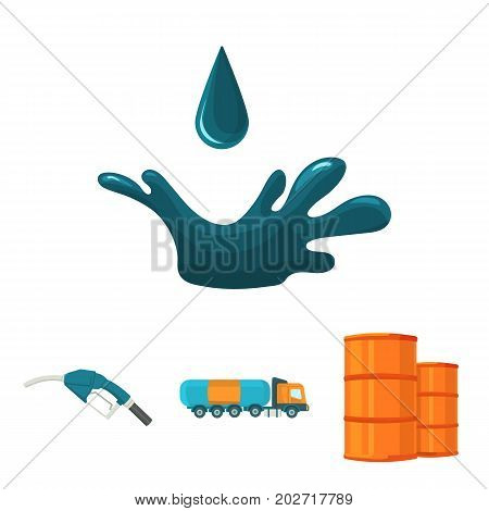 Truck with a cistern, barrels of fuel, a refueling gun, a drop of oil. Oil industry set collection icons in cartoon style vector symbol stock illustration .