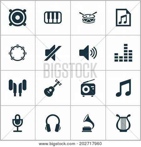 Multimedia Icons Set. Collection Of Octave, Mike, Instrument And Other Elements