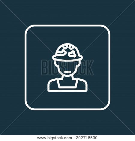 Premium Quality Isolated Officer  Element In Trendy Style.  Soldier Outline Symbol.