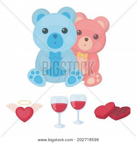 Glasses with wine, chocolate hearts, bears, valentine.Romantik set collection icons in cartoon style vector symbol stock illustration .