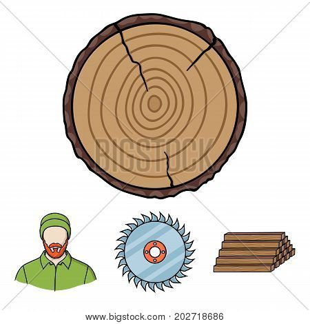 Circular saw, a working carpenter, a stack of logs. A sawmill and timber set collection icons in cartoon style vector symbol stock illustration .