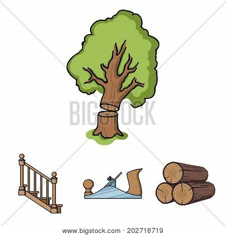 Logs in a stack, plane, tree, ladder with handrails. Sawmill and timber set collection icons in cartoon style vector symbol stock illustration .