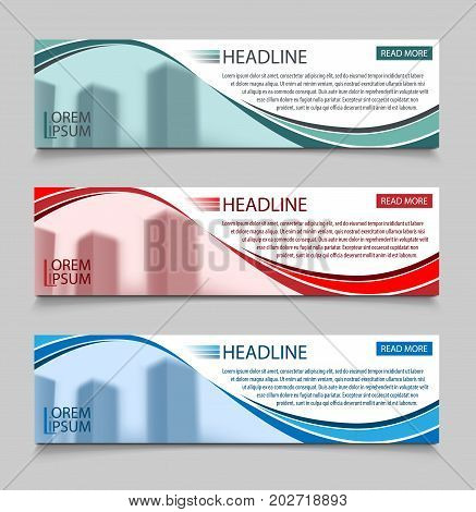 Website horizontal business banners vector template. Abstract banner design business concept design with healine for website, vector illustration EPS 10