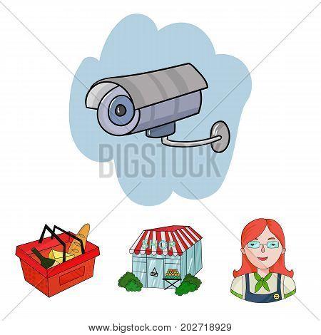 Salesman, woman, basket, plastic .Supermarket set collection icons in cartoon style vector symbol stock illustration .