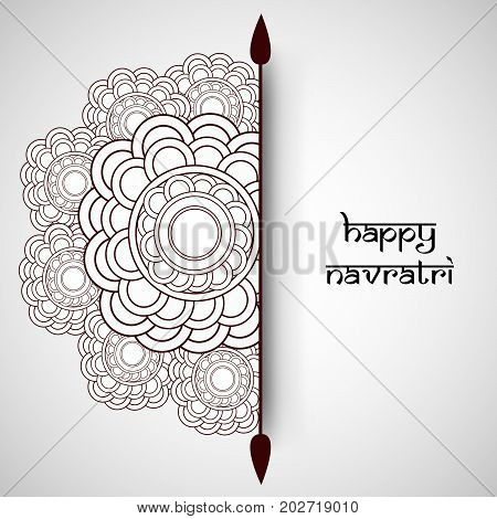illustration of floral design with Happy Navratri text on the occasion of hindu festival Navratri