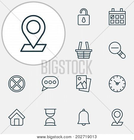 Internet Icons Set. Collection Of Estate, Message Bubble, Hourglass And Other Elements