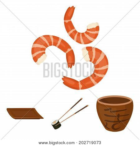 Sticks, shrimp, substrate, bowl.Sushi set collection icons in cartoon style vector symbol stock illustration .