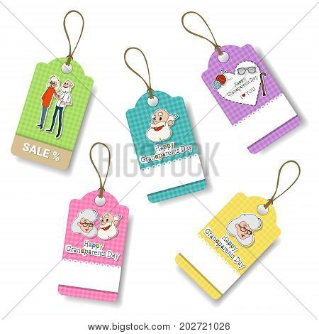 Happy Grandparents Day Shopping Tags Set Holiday Sale Icon Discount Vector Illustration