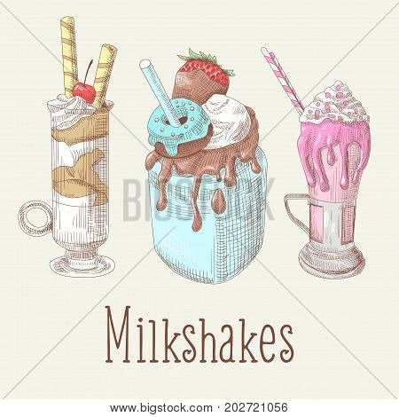 Milkshakes and Ice Cream Hand Drawn Doodle. Dessert Cold Drinks. Vector illustration