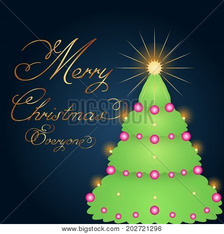 A Christmas greeting vector with a stylistic tree and gold text. EPS and Jpg