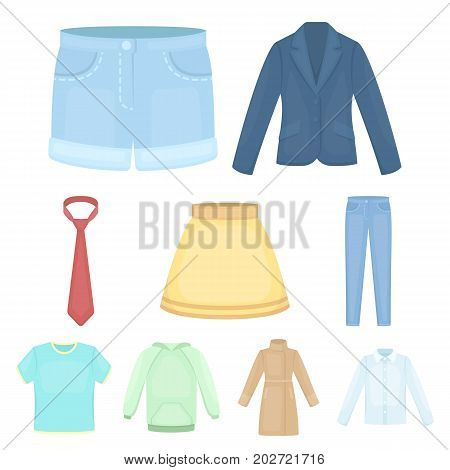 Clothes set icons in cartoon style. Big collection of clothes vector symbol stock