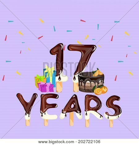 Happy Birthday seventeen 17 year card. Vector illustration