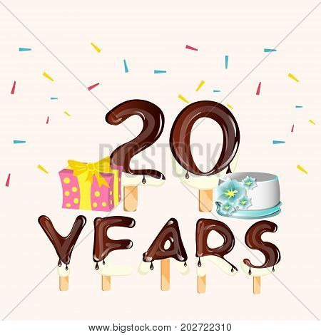 Happy Birthday twenty 20 year card with number. Vector illustration