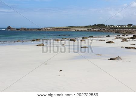 View of the lovely golden sand beach at La Greve Blanche, near Plougerneau in Britttany in France.