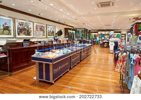 BUSAN, SOUTH KOREA - MAY 25, 2017: inside a Polo Ralph Lauren store at Lotte Mall in Busan.
