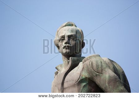 TBILISI, GEORGIA - August 17,2013: Monument to the famous Russian poet Lermontov . The monument is located at the confluence of the Mtkvari and Aragvi rivers near Tbilisi, Georgia