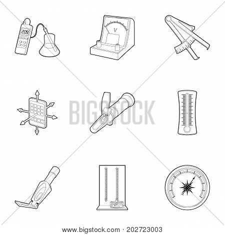 Measuring device icons set. Outline set of 9 measuring device vector icons for web isolated on white background