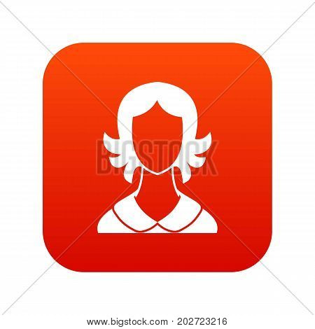 Woman icon digital red for any design isolated on white vector illustration