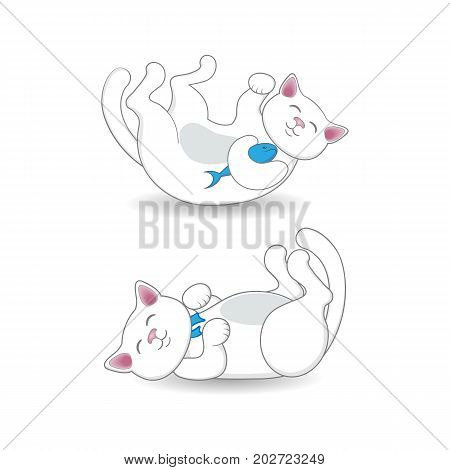 Cute white cat, kitten lying on its back in two positions, cartoon vector illustration isolated on white background. Playful cartoon, comic style cat, kitten lying on its back, two variants, positions